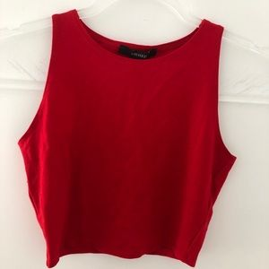 Forever 21 red sleeveless high neck crop top